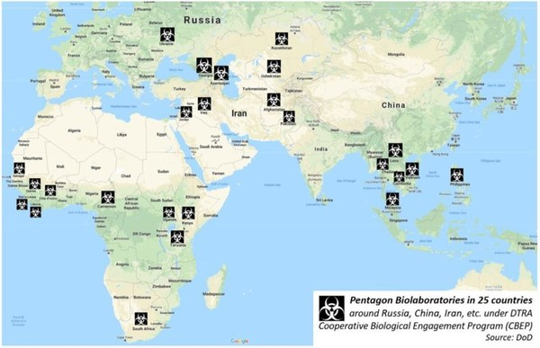▲ [이미지 6] 전 세계 25개 국가에서 펜타콘이 운영하는 생물학전 실험실
