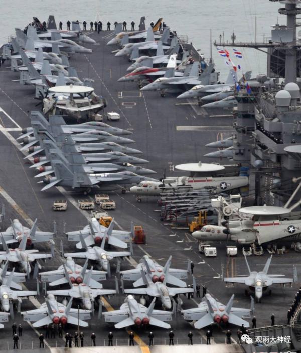 ▲ 미군 항모상의 F-18 전투기