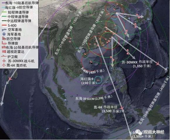 ▲ 중국이 보유한 각종 무기의 방어권